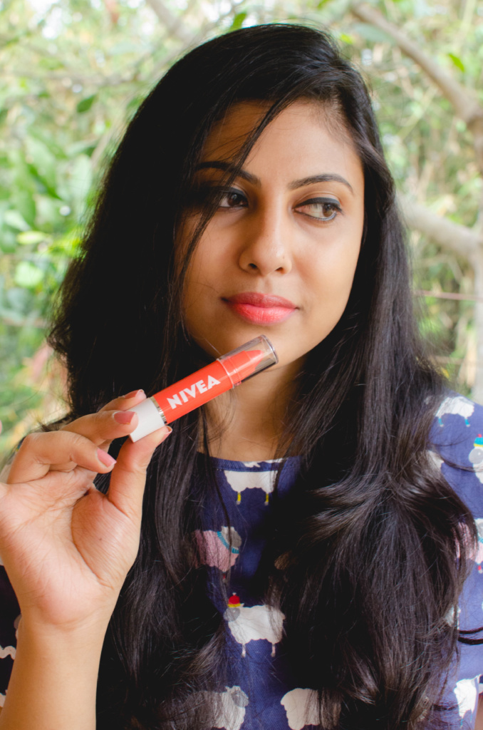 Nivea Coloron Lip Crayons Coral Crush Review and Swatches | Cherry On Top