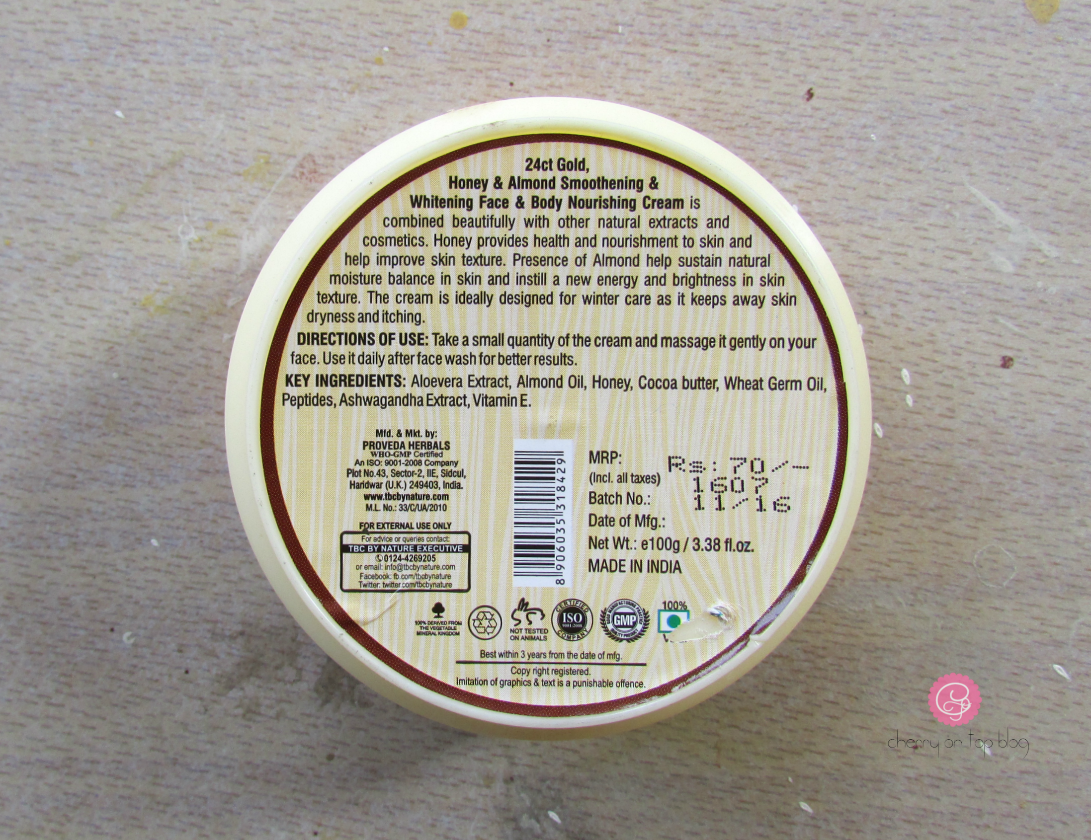 TBC by Nature Honey & Almond Winter Care Nourishing Cream Review| Cherry On Top