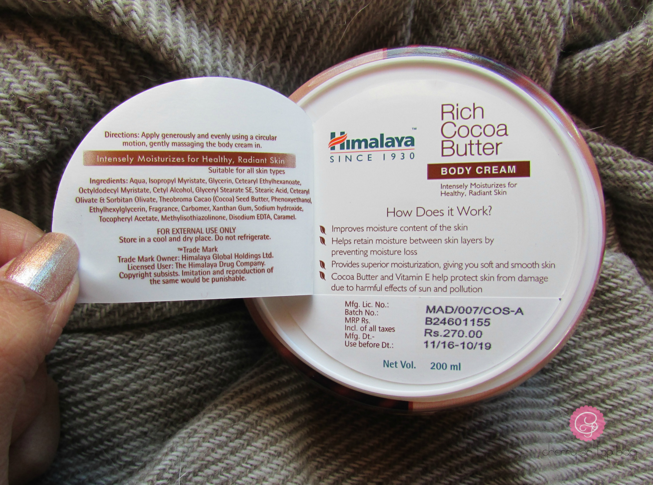 Himalaya Herbals Rich Cocoa Butter Body Cream Review, Price, Buy Online| Cherry On Top
