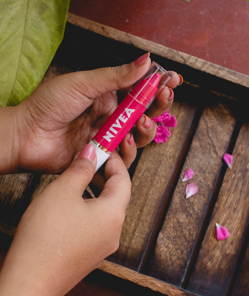 Nivea Coloron Lip Crayons Hot Pink Review and Swatches | Cherry On Top