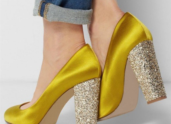 Gold Chunky Sparkly Heels for Night Out | Summer Footwear for Day to Night | Cherry On Top Blog