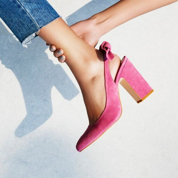 Pink Suede Block Heels for Brunch | FSJ Shoes| Summer Footwear for Day to Night | Cherry On Top Blog